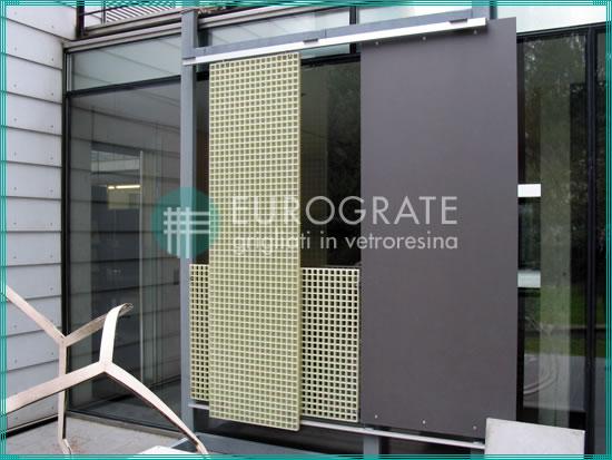 pared de rejillas para protección contra los rayos UV