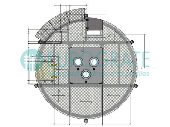 dibujo técnico de una rejilla a la medida para una plataforma petrolera