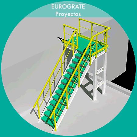 dibujo técnico en 3D de escaleras verticales