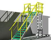 Estructura con perfiles y escalones de rejilla en 3D